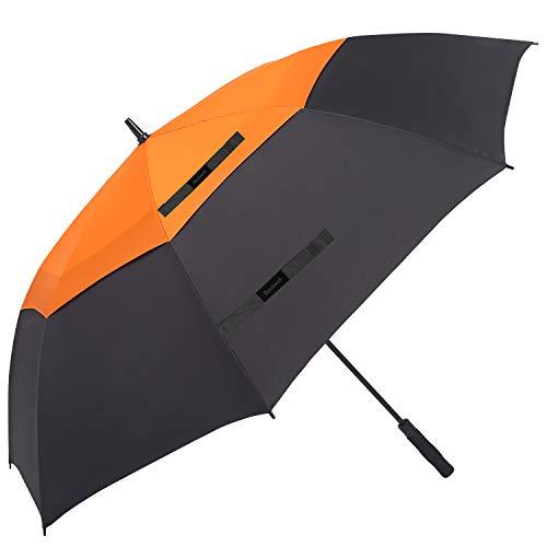 Doubwell Golf Umbrella Large Size 68 inches air Vent Double Canopy Windproof Automatic Straight rain Umbrellas (Orange/Black)