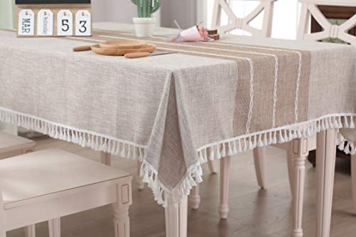 MeyC Rectangle Tablecloth 55' x 102' Inch - Cotton Linen Table Cloth for Kitchen Dinning Tabletop Decoration Linen