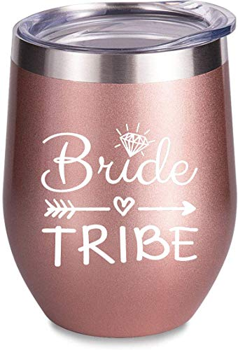 Bride to Be Champagne Flute | 12 oz Bride Tribe Stainless Steel Wine Tumblers | Engagement Wedding Gifts Bridesmaids Mugs Bachelorette Party Supplies & Games | Insulated Skinny Rose Gold Cups