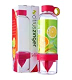 Anigood Citrus Zinger Water Bottle Sports Fruit Infuser Drinking Vessel Camping Gym Chug (Red)