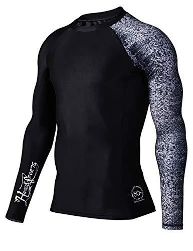 HUGE SPORTS Men's Splice UV Sun Protection UPF 50+ Skins Rash Guard Long Sleeves