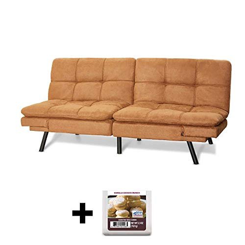 For Sale! Upholstered Memory Foam Futon, Camel Suede + Free Vanilla Cookie Crunch Scented Wax Melts