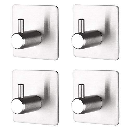 4 Stück Handtuchhaken Wandhaken ohne Bohren, Selbstklebend Wandhaken, Edelstahl Haken für Küche und Badzimmer (Silber)