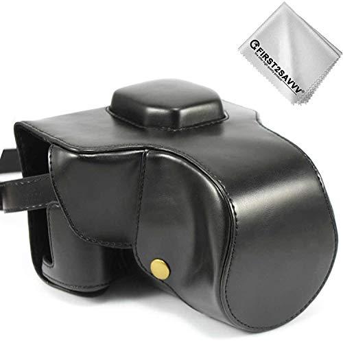Fujifilm X-T3 Systemkamera Tasche First2savvv schwarz Premium Qualität Ganzkörper- präzise Passform PU-Leder Kameratasche Fall Tasche Cover für Fuji Fujifilm X-T3 XT3