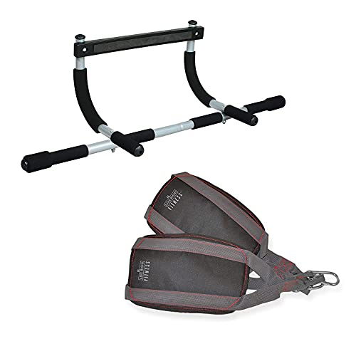 Iron Gym Pull Up Bar & Ab Straps - Total Upper Body Workout Bar for Doorway, Adjustable Width Locking, No Screws Portable Door Frame Horizontal Chin-up Bar, Fitness Exercise