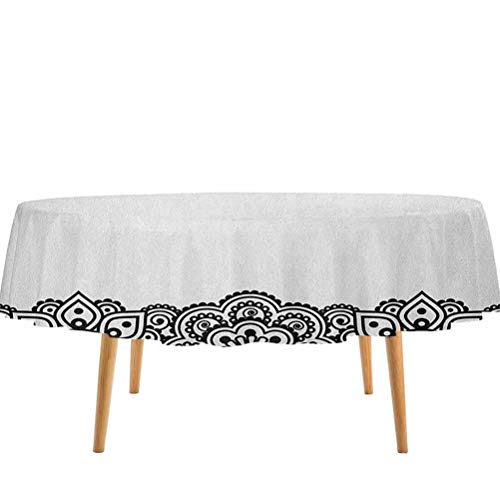 prunushome Henna Tablecloths Damask Inspired Border Design Folkloric Mehendi Curls Flowers Retro Style Cultural for Kitchen Dinning Tabletop Decoration Black White (70' Round)
