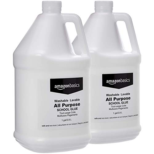 AmazonBasics All Purpose Washable School Liquid Glue, Great for Making Slime, 1 Gallon Bottle, 2-Pack