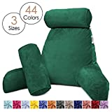 Nestl Reading Pillow, Includes 1 Extra Large Bed Rest Pillow with Arms and Pockets + 2 Detachable Pillows - Shredded Memory Foam TV Pillow, Neck Roll & Lumbar Support Pillow - Set of 3 - Hunter Green