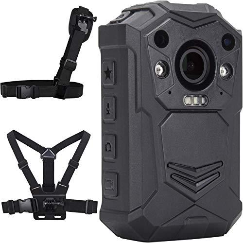 BRIFIELD BR1 Cámara Corporal - HD 1440p, Tarjeta de Memoria 128GB, visión Nocturna, GPS   Cámara portátil para Seguridad y Uso Personal   Incluye arnés de Pecho y arnés de Hombro