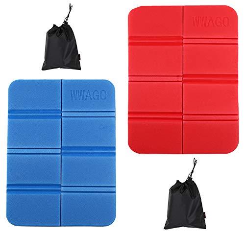 NO Miystn składana mata do siedzenia, poduszki do siedzenia na zewnątrz, wodoodporne z dwiema torbami do przechowywania na świeżym powietrzu do parku kempingowego na piknik (2 szt., czerwone i niebieskie)