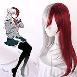 My Hero Academia Todoroki Shoto Peluca larga para mujer Disfraz de Cosplay Boku No Hero Academia Pelucas de fiesta de Halloween de pelo rojo y blanco, Chica Shoto