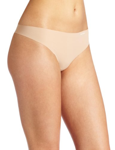 Calvin Klein Women's Invisibles No Panty Line Thong Panty, Light caramel, Medium