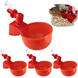 JoyeVic 4 Pack Auto-Fill Poultry Watering Cups, with Hardware-4 Pack Tees Fittings for 1/2