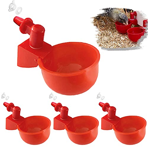 JoyeVic 4 Pack Auto-Fill Poultry Watering Cups, with Hardware-4 Pack Tees Fittings for 1/2' PVC Piping, Auto Waterer Drinker System Water Feeder Kit, for Chickens, Ducks, Geese, Turkeys