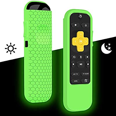 Remote Case/Cover for NOW TV Smart Stick,Roku Streaming Stick+ HD Streaming Media Player,Protective Holder Skin Sleeve ShockProof for Now TV Remote Control,Silicone Remote Battery Cover-Glowgreen