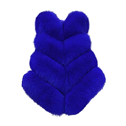 Damen Steppwesten ärmellos Faux Far Vest Kunstfellweste Gilets,Warme Kunstpelz Cardigan Weste Elegant Einfarbig Flauschige Fellmantel Outwear Bodywarm Daunenweste S-3XL
