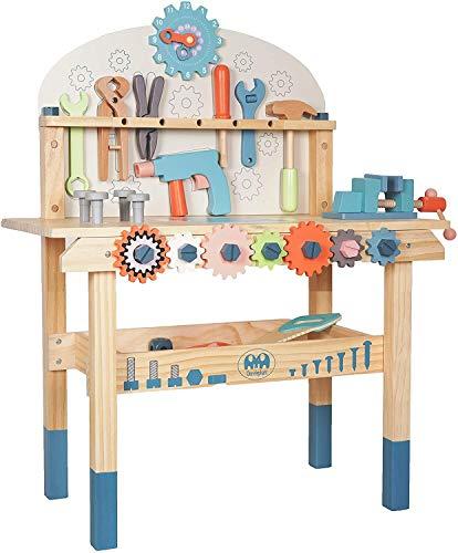 labebe Holz-Werkbank, Kinder-Werkzeug-Set für Jungen ab 3 Jahren, Kinder-Werkzeugbank-Set für Kleinkinder, Rollenspiel-Spielzeug, Geburtstagsgeschenk für Jungen