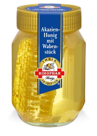 BIHOPHAR – Akazienhonig mit Wabenstück I 500 g Honig
