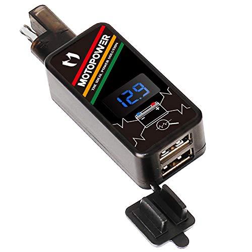 MOTOPOWER MP0620 4.2Amp Motorrad Dual USB Ladegerät SAE zu USB Adapter mit LED Voltmeter