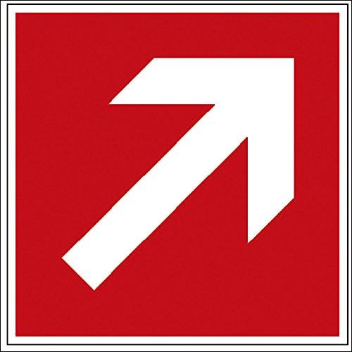Hinweis- Schild - Brandschutzkennzeichen - Richtungsvorgabe - BGV A8, DIN 4844 und Arbeitsstättenverordnung 150x 150 mm - K129/91