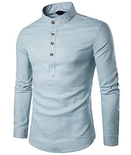 Cyiozlir Herren Leinenhemd leinen Langarmshirt Stehkragen Hemden mit Knopfleiste Slim fit Henley Shirt (Hellblau,X-Large)
