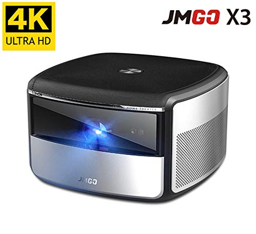 CACACOL Updated JmGO X3 Native 4K Beamer All-in-One-Heimkino Intelligenter 3D-TV-Projektor Eingebauter HiFi-Stereolautsprecher