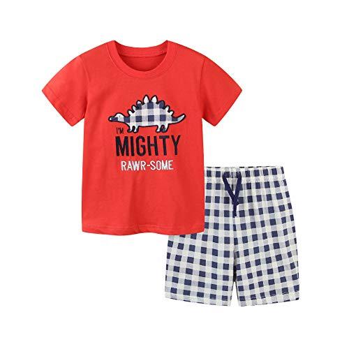 Vialogry Juego de 2 piezas de ropa de verano para niños pequeños, cuello redondo, dibujos animados, bordado de dinosaurio, manga corta + pantalones cortos a cuadros