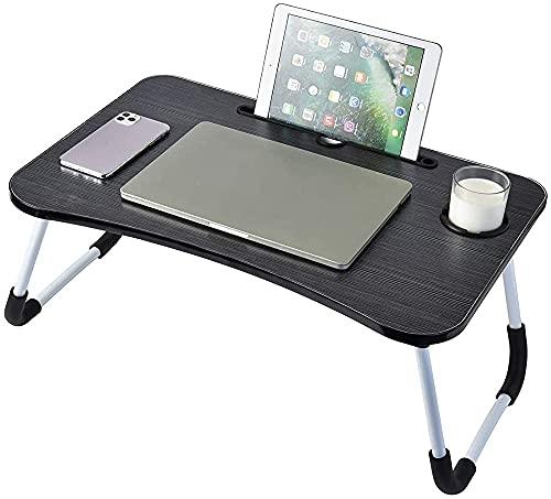 Tabla portátil, mesa portátil plegable portátil, con tanque de taza, bandeja de cama de servicio de desayuno, soporte de lectura,Black