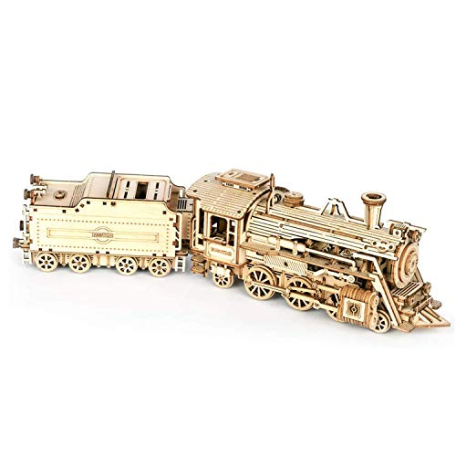 Train 3D Puzzle Model Kits, Locomotive Wooden Model kit For Adult, Self Assembly Mechanical Construciton Craft for Kids, Teens and Adults (Steam Train)