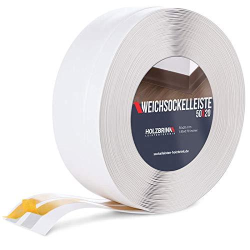 HOLZBRINK Battiscopa Morbido Adesivo Bianco Battiscopa con striscia spezzata, 50x20 mm, 25 m