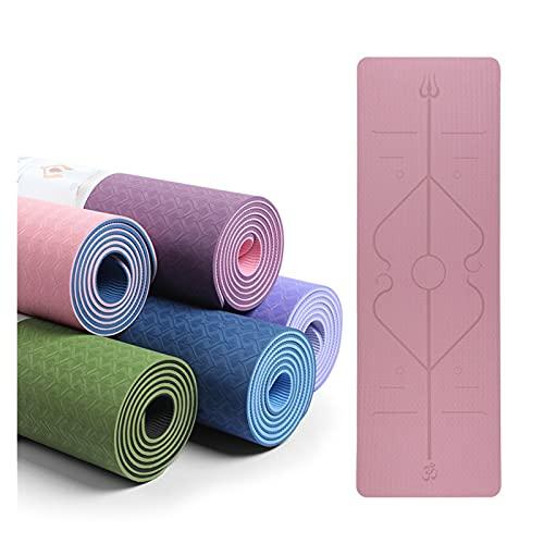Tapis de yoga Tapis de yoga avec ligne de position Fitness Gymnastics Tapis double couche Tapis de tapis de sport de sport antidérapant 1830 * 610 * 6mm femmes mat Bonne flexibilité et fort effet anti