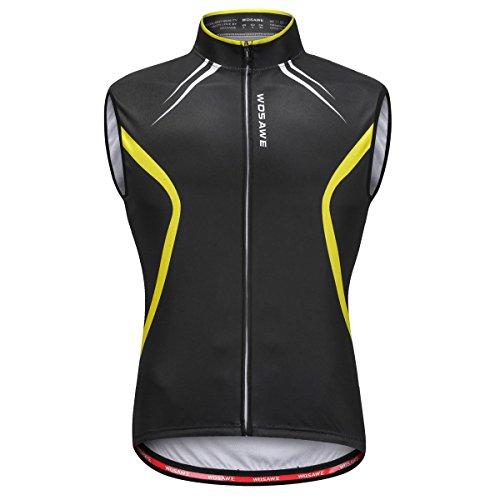 WOSAWE Veste sans Manches Vélo pour Hommes Manteau Vélo Ultra-Léger et Coupe-Vent Réfléchissant Gilet Sports de Plein air (Noir L)