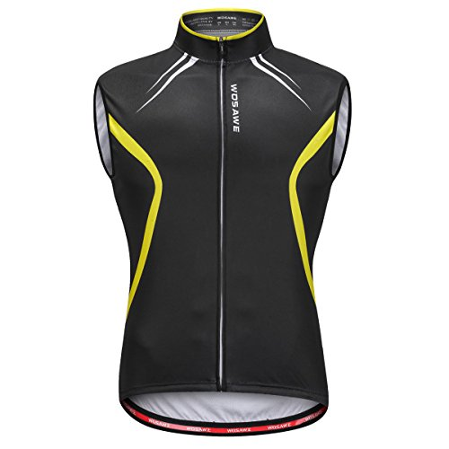 WOSAWE Men's Cycling Sleeveless Jersey Biking Racing Top Vest with Rear Pockets, Black with Yellow XXL