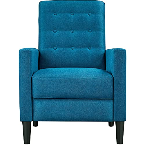 Yaheetech Blue Fabric Recliner Armchair Adjustable Reclining Chair Upholstered Single Sofa Armchair with Soft Padded Seat for Living Room Bedroom