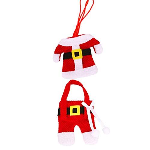 rongweiwang Articoli per la tavola di Copertura Tuta Santa Natale Argenteria Holder Tasche Copertura tavola di Natale Decorazioni Kit Red Dinner Table Partito