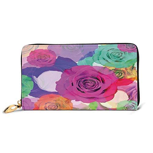 Women's Long Leather Card Holder Purse Zipper Buckle Elegant Clutch Wallet, Love Valentines Floral Arrangement with Vivid Roses Nature Flowers Botany Print,Sleek and Slim Travel Purse