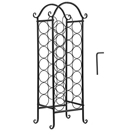 Botellero de pie, expositor para vino, estructura de hierro con diseño curvo de metal para bodega para vino de cocina en sótano.