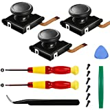 Joycon Joystick Replacement for Switch Joy Con,3-Pack 3D Analog Thumb Stick with Repair Kit Include 2 Screwdriver,6 Screws, 1 Pry Clip, 1 Pry Bar,1 ESD Tweezer