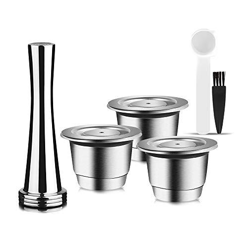 i Cafilas Cápsulas reutilizables de acero inoxidable para Nespresso, 3 unidades cápsula recargables, 1 prensador, 1 cuchara y 1 cepillo