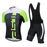 JPOJPO Maillot de ciclismo para hombre, manga corta, transpirable, pantalones cortos de ciclismo de secado rápido