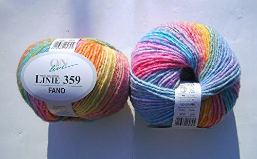 ONline Garne Linie 1103590038 FANO 150 g zum Stricken und Häkeln, 038 rosa blau gelb color