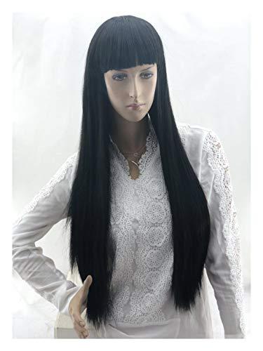 JIANGNANCHUN Perruque de style japonais et coréen avec cheveux longs raides noirs
