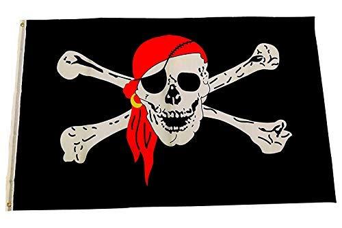 MARQUISE & LOREAN Bandera De Barco Pirata Pata Palo Grande Súper Resistente para Exteriores y Fiestas de Niños 150x90 cm Mira