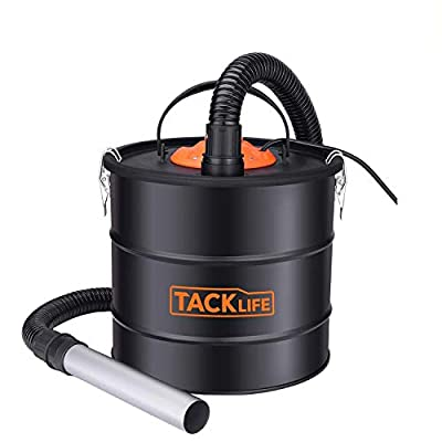 TACKLIFE Ash Vacuum, ash vac Cleaner, 800W, 5 Gallon, 3.3 ft Hose + 7.9in Tube, Debris/Dust/Ash Collector for Grill, Fireplace, Wood Stoves and Pellet Stove