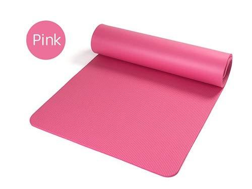 Sin logo - Alfombrilla de yoga extragrande NBR antideslizante para pilates y fitness, multifuncional, con correa de transporte, rosa