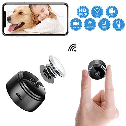 ablever Mini Kamera, Klein Akku überwachungskamera Innen WLAN Handy mit Bewegungserkennung und Speicher Aufzeichnung Mikro WiFi IP Kamera,Nachtsicht Wireless Nanny Cam