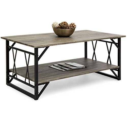 Best Choice Products Modern Contemporary Wooden Coffee Table for Living Room, Office w/Open Shelf Storage, Metal Legs