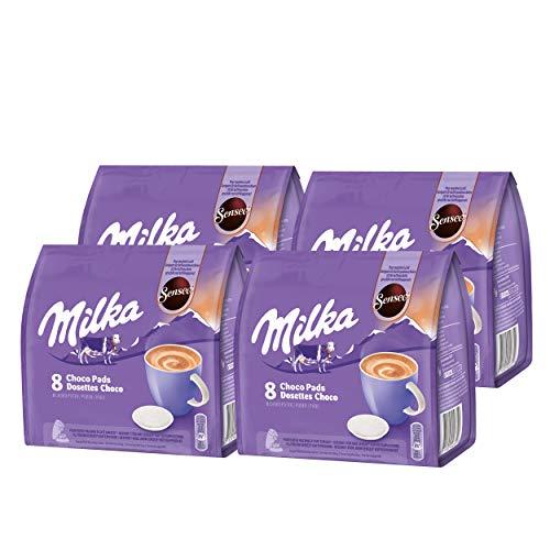 Senseo Milka Choco Pads Lot de 4 boîtes de Chocolat, Boissons à cacaogènes, 4 x 8 dosettes