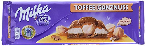 Milka Toffee Ganznuss 4 x 300g Großtafel, Zartschmelzende Schokoladentafel mit cremigem Karamel und ganze Haselnüsse
