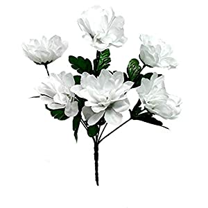 1 Bouquet of 6 Dahlia Wedding Bouquet Fake Faux Artificial Silk Flowers White